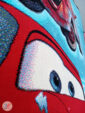 نمایی نزدیک از فرش ماشینی طرح کود سه بعدی زینه آبی کد 02