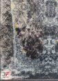 فرش کهنه نما ماشینی مدرن طرح گل برجسته زمینه آبی مشکی کد 11-823