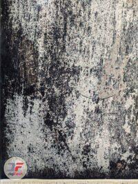 نمای یک چهارم فرش ماشینی وینتیج گل برجسته مدرن زمینه کرم سرمه ای کد 11-846