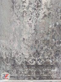 یک چهارم فرش ماشینی مدرن وینتیج گل برجسته زمینه طوسی کد 11-854
