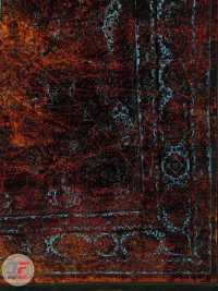 یک چهارم فرش فانتزی و مدرن طرح پتینه زمینه نارنجی مشکی کد 21-862