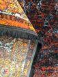 فرش فانتزی و مدرن طرح پتینه زمینه نارنجی مشکی کد 21-862