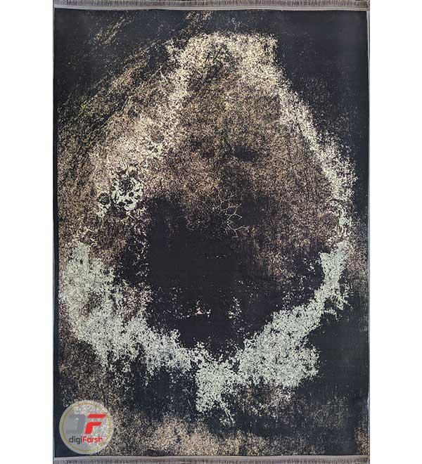 فرش فانتزی و مدرن کهنه نما طرح گل برجسته زمینه مشکی بژ کد 12-818