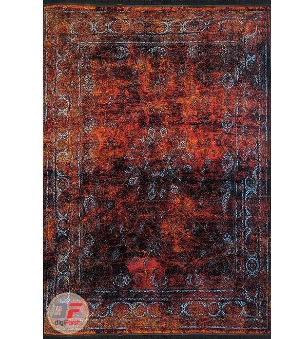 روی فرش فانتزی و مدرن طرح پتینه زمینه نارنجی مشکی کد 21-862