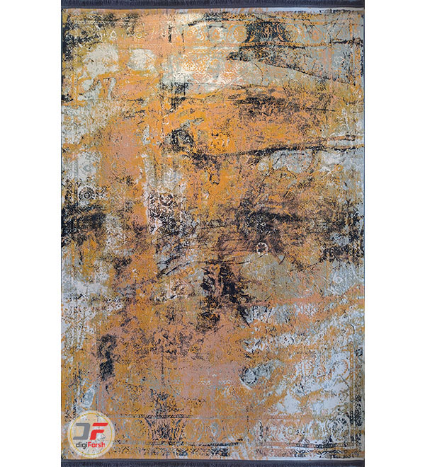 فرش پتینه ماشینی مدرن طرح گل برجسته زمینه طوسی نارنجی کد 11-830