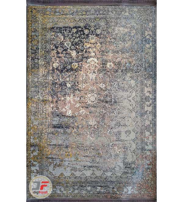 فرش ماشینی مدرن طرح کهنه نما زمینه بژ طوسی کد 11-801