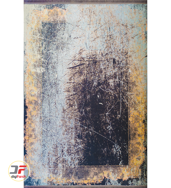 فرش پتینه مدرن ماشینی زمینه مشکی طلایی کد 11-824