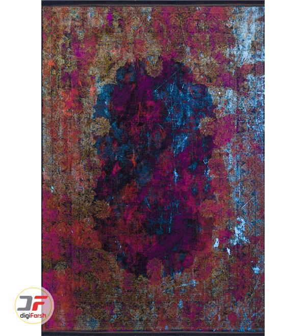 روی فرش ماشینی مدرن طرح کهنه نما زمینه بژ زرشکی آبی کد 21-850