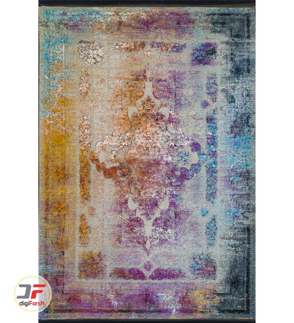 فرش ماشینی فانتزی طرح کهنه نما زمینه سبز آبی طلایی کد 21-865