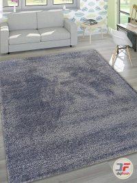 دکور فرش ماشینی مدرن و فانتزی پرزبلند (فلوکاتی) زمینه اطلسی (سرمه ای) کد 03