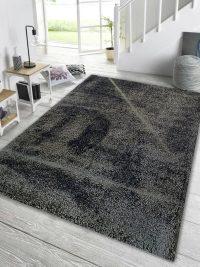 نمای داخل دکور فرش مدرن ماشینی فلوکاتی (شگی) زمینه دودی کد 05