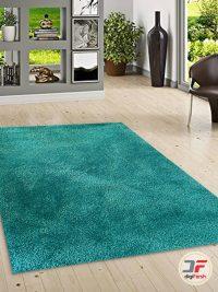 دکور فرش ماشینی مدرن و فانتزی شگی (فلوکاتی) زمینه سبزآبی کد 06