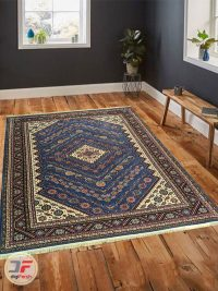 نمای دکوراسیون فرش ماشینی سنتی زمینه آبی کاربنی کد 106