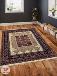 فرش ماشینی طرخ سنتی و دستباف کد 103 با زمینه بژ داخل دکور