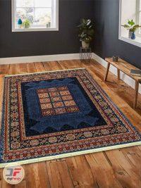 نمای دکور فرش ماشینی طرح قشقایی زمینه سرمه ای کد 103