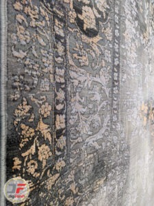حاشیه فرش طرح وینتیج ماشینی مدرن و فانتزی زمینه طوسی طلایی کد 45