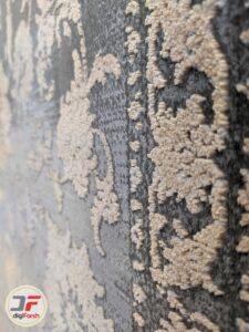 نمای نزدیک فرش ماشینی مدرن و فانتزی طرح وینتیج گل برجسته کد 8002