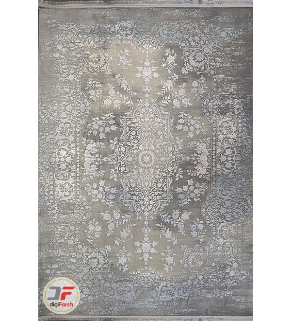 روی فرش ماشینی مدرن طرح پتینه زمینه طوسی کد 41