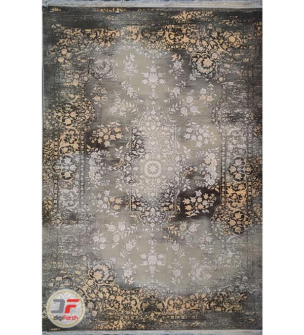 عکس اصلی فرش ماشینی طرح وینتیج فانتزی گل برجسته طوسی طلایی کد 45