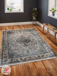 نمای داخل دکور فرش ماشینی مدرن و فانتزی طرح پتینه گل برجسته کد 11-800