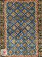 ترنج وسط فرش ماشینی طرح دستباف زمینه آبی کد 104