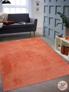 نمای دکوراسیون فرش ماشینی فانتزی شگی فلوکاتی زمینه نارنجی کد 11