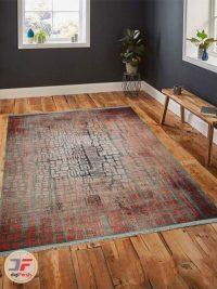 فرش ماشینی طرح وینتیج گل برجسته زمینه مشکی نارنجی کد 89 داخل دکور
