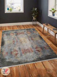 نمای دکور فرش ماشینی مدرن طرح وینتیج طوسی مشکی کد 20