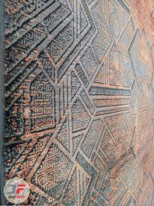 حاشیه فرش ماشینی مدرن و فانتزی طرح کهنه نما گل برجسته کد 123