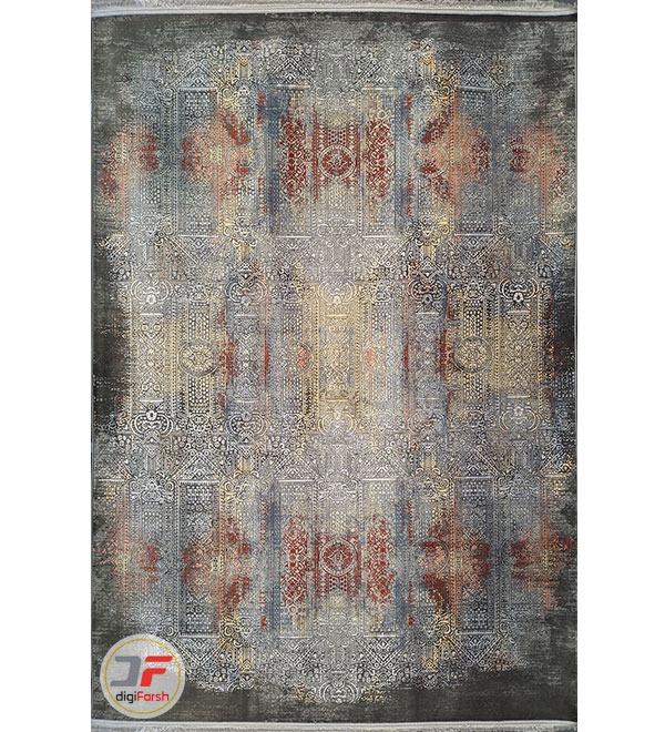 روی فرش وینتیج مدرن گل برجسته طوسی مشکی کد 20