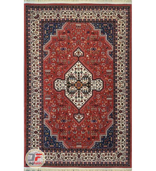 روی فرش ماشینی طرح سنتی قشقایی زمینه لاکی کد 112