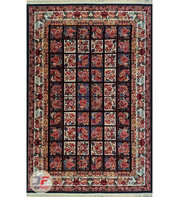 روی فرش ماشینی طرح سنتی زمینه سرمه ای کد 109
