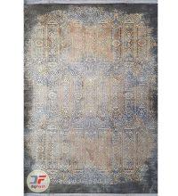 روی فرش ماشینی طرح وینتیج فانتزی گل برجسته زمینه کرم مشکی کد 22