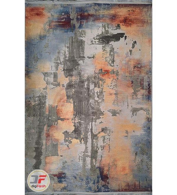 روی فرش ماشینی طرح مدرن وینتیج گل برجسته طوسی نارنجی کد 81