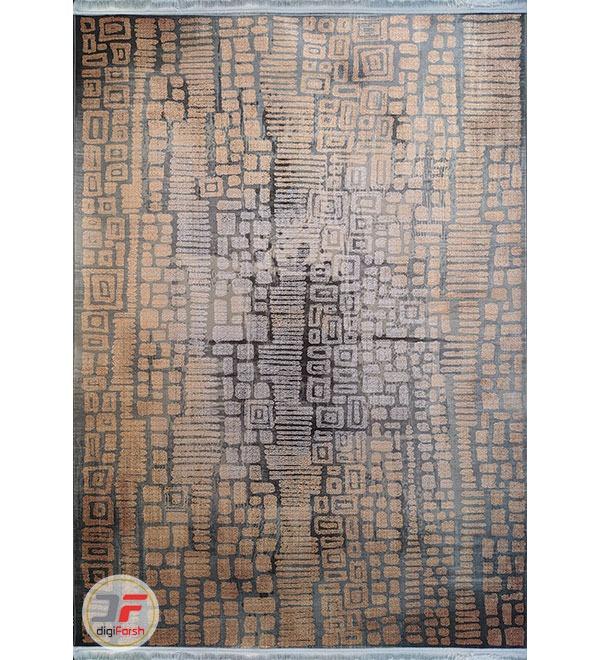 فرش ماشینی طرح وینتیج مدرن طوسی نارنجی کد 88