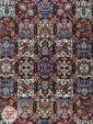 نمای ترنج وسط فرش دستباف گونه ماشینی زمینه سرمه ای کد 110