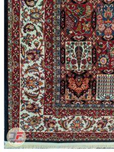 یک چهارم فرش ماشینی طرح سنتی و دستباف زمینه سرمه ای کد 110