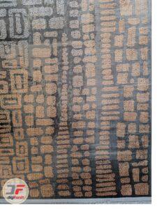 یک چهارم از فرش ماشینی طرح وینتیج فانتزی طوسی نارنجی کد 88