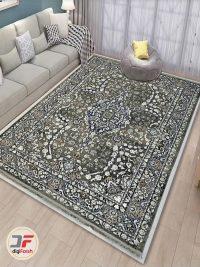 دکور فرش ماشینی وینتیج گل برجسته خاکستری کد 80251