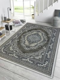 دکور فرش کهنه نمای طوسی گل برجسته کد 80271
