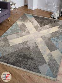 دکور فرش ماشینی مدرن ارزان طرح گبه زمینه خاکستری کد 516