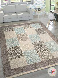 نمای دکور فرش ماشینی مدرن طرح گبه زمینه طوسی بژ کد 521