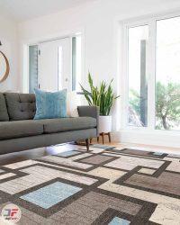 دکور فرش ماشینی مدرن طرح گبه ارزان زمینه طوسی کد 515