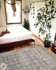 دکور فرش ماشینی طرح گبه لایت مدرن زمینه نقره ای کد 533