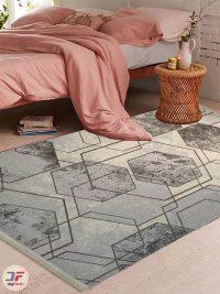 دکور فرش ماشینی فانتزی طرح گبه زمینه طوسی کرم کد 534