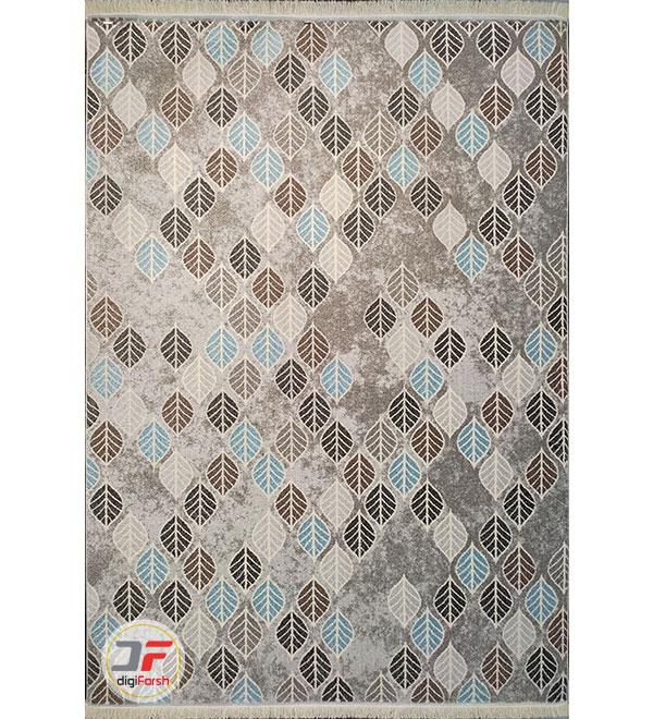 روی فرش مدرن گبه ماشینی ارزان با زمینه خاکستری کد 530