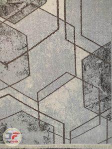 یک چهارم فرش ماشینی فانتزی طرح گبه زمینه طوسی کرم کد 534