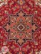 ترنج فرش ماشینی قشقایی طرح هریس با زمینه لاکی کد 101